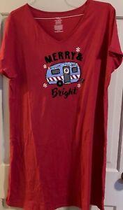 Womens Plus Christmas Merry & Bright Camper Sleep Shirt Size L/XL Red Pajama