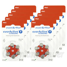 60 cells x everActive Hearing aid 312 Size batteries Zinc Air PR41 1.45V