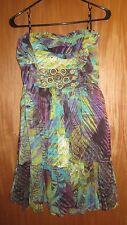 XOXO Print Strapless Short Dress SAFARI CHIC Multi-Color Wooden Beads