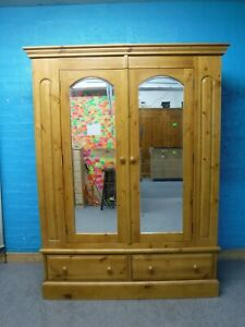 DOVETAILED CHUNKY SOLID WOOD DOUBLE 2DOOR 2DRAWER WARDROBE  195x148cm -SEE  SHOP