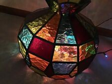 Vintage Hanging Swag Light Lamp Shade Stained Glass Tiffany Style Chandelier