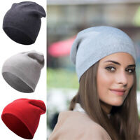 Fine Knitted Beanie Cashmere Hat Mens & Women Long Slouchy Warm Skiing Cap