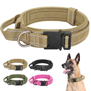 Soft Tactical K9 Dog Training Collar Reflective w/ Handle Military Metal Buckle