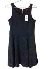 New Material Girl Juniors Sleeveless Aztec Cutout A-Line Knee Dress Black L $49