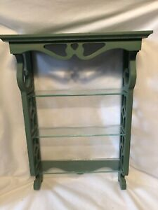 Green Wood hanging shelf with three Glass shelves, Distressed Green Stain