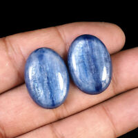 2 Pcs Pair Natural Kyanite 25mm/18mm Superb Glossy Blue Deluxe Untreated Gems