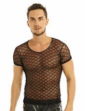 T-Shirt Transparent Homme Sexy Débardeur Chemise Manche Courte Clubwear Noir