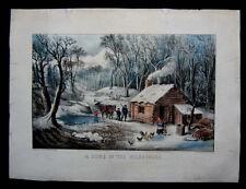 1870 Original Currier & Ives Print Home in the Wilderness Winter Scene Best 50