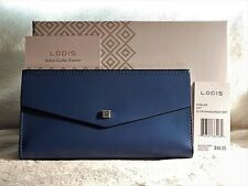 Lodis Blair Amanda Continental Clutch Wallet Denim & Taupe Leather NWT MSRP $88