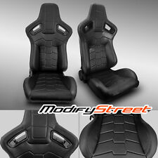 2 x BLACK PVC MAIN LEATHER LEFT/RIGHT RACING BUCKET SEATS PAIR