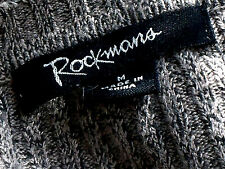 ROCKMANS 3/4SlvBrownMarlVneckRibbed SzM