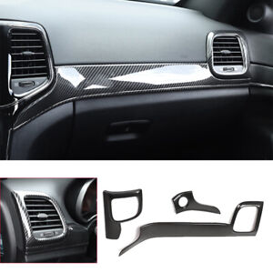 Carbon Fiber ABS Console Dashboard Panel Cover Fit For Jeep Grand Cherokee 2011+