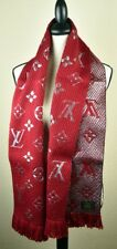 NEW LV Wool Logomania Shine Scarf 100% Authentic M75832 Louis Vuitton RED SILVER