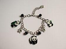 Hermosa hecha a Mano Panda Estilo Tradicional Ajustable pulsera con dijes Negro