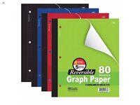 "3 Pk, Bazic 4""/5"" Reversible Graph Paper, 8 1/2"" X 11"", 80 Sheets. Random color"