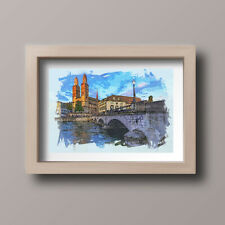 Watercolour Zurich Skyline Scene Home Print,Gift,Wall Art A4-Unframed