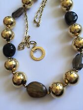 Dyrberg Kern Designer Necklace Large Gold-tone Beads Superb