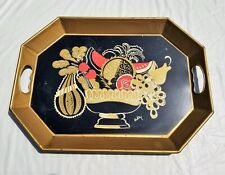 Vintage Pilgrim Art Hand Painted Tole Serving Tray Signed by Artist Buckley