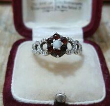 VINTAGE in argento Cluster Anello, Rosso Granato & Bianco Opale, Dimensione N