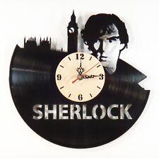 "NEW  Vinyl Record Wall Clock ""Sherlock"" Wooden Dial, modern decorative art ~ 12"""