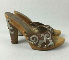 Nine West Vintage 1564 Women's Western Style Sandals Heels Wood Leather Size 7.5