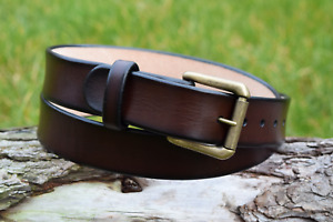 Handmade Full Grain Brown Leather Belt Antique Brass Nickel Plated Roller Buckle