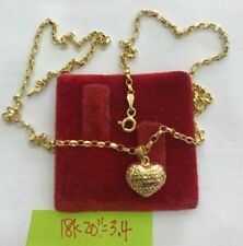 Gold Authentic  18k gold heart necklace 20 inches chain,,