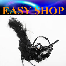 Lady Women Black Feather Mask Costume Masquerade Cosplay Party Venetian Ball Eye