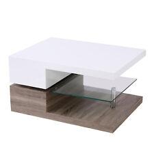 Modern White&walnut MDF Gloss Rotating Top Coffee Table With Clear Glass Shelf