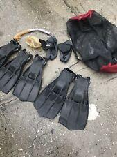Vintage Scuba Diver Swim Fins Boots Flippers Size Mask Swimaster Aqualung Lot