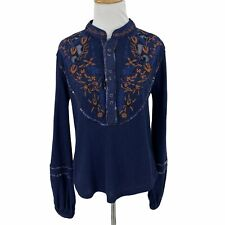 Free People Sundance Kid Western Henley Top Women's Size Xs Embroidered Peasant