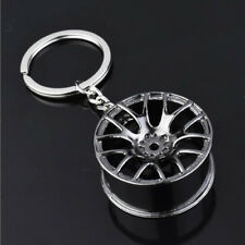 Black Creative Zinc Alloy Car Auto Wheel Hub Key Chain Key Pendant Decoration