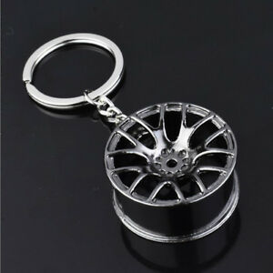 Black Creative Zinc Alloy Car Auto Wheel Hub Key Chain Key Pendant Decoration