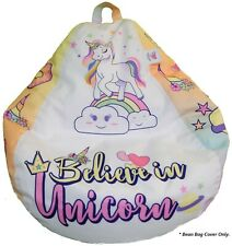 Unicorn Bean Bag Chair for Toddlers Kids Girls Teens Adults (Cover Only)
