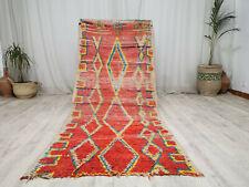 "Handmade Moroccan Vintage Carpet 3'5''x8'2"" Geometric Red Yellow Berber Wool Rug"