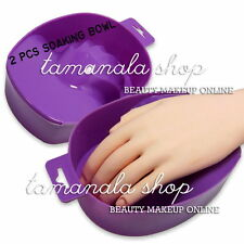 2 Pcs PURPLE SOAKING SOAK BOWL TRAY NAIL ART REMOVER Salon Treatment Care TOOL