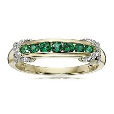 Created Emerald Band Ring with Diamonds in 10K Gold