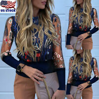 Sexy Women Sheer Mesh Floral Long Sleeve T-shirt Tops Ladies Casual Loose Blouse