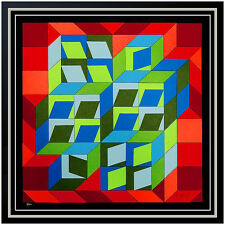 Victor VASARELY Original COLLAGE Silkscreen HAND Signed Illusion Geometric Art