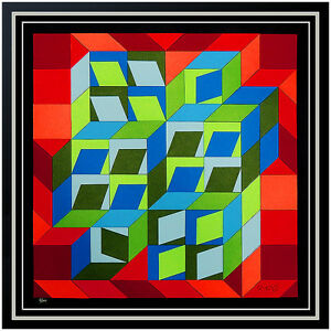 Victor VASARELY Original COLLAGE Silkscreen HAND Signed Illusion Geometric Art