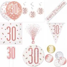 30th Birthday Rose Gold,Decorations,Party,Confetti,Balloons,Banner,Flag bunting,