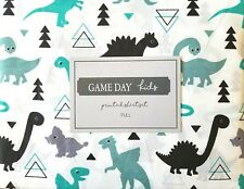 New Game Day Kids 4 Piece Full Sheet Set Teal Black Gray on White Dino Dinosaurs