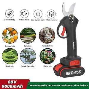 88V Cordless Electric Pruning Shears Li-ion Secateur Branch Cutter US