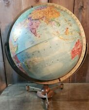 Vintage Replogle Stereo Relief  World Globe on Stand Mid Century Countries