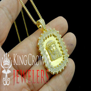 Mens 14k Yellow Gold Tone Real Sterling Silver Jesus Face Dog Tag Necklace Chain