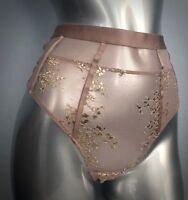 Victorias Secret Nwt Blush Foil Lurex Very Sexy High Waist Caged Thong Panty