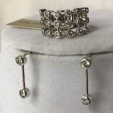 Premier Designs Gilford Ring Size 6/7 Silver Tone Thick Band Bezel Set Cz &bonus
