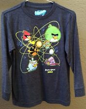 ANGRY BIRDS ATOMIC SPACE THEMED YOUTH CHILD SMALL 6-8? KNIT SHIRT TOP L/S PEWTER