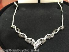 ETERNITY BLACK & WHITE DIAMOND NECKLACE ANGEL WINGS  18 INCH + GIFT!