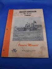MASSEY FERGUSON TORONTO CANADA NO 72 S.P. COMBINE OWNERS MANUAL FARM MACHINERY